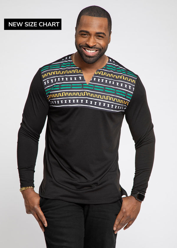 Bomani African Print Color Blocked V-neck T-shirt (Black/Green Gold Mudcloth)