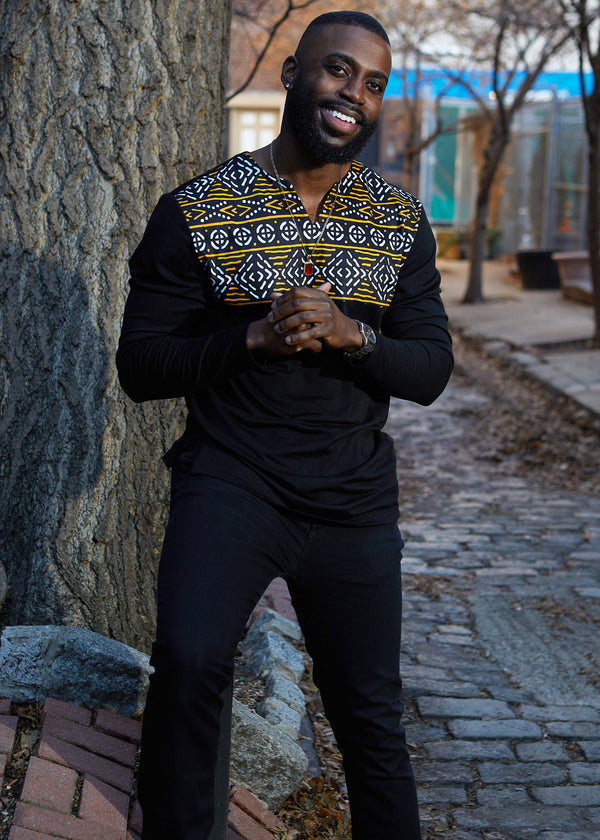 Bomani Men's African Print Long Sleeve V-neck Tee (Black/ Black Gold Mudcloth)