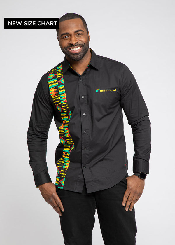 Bori African Print Applique Button-Up (Black/Black Green Kente)