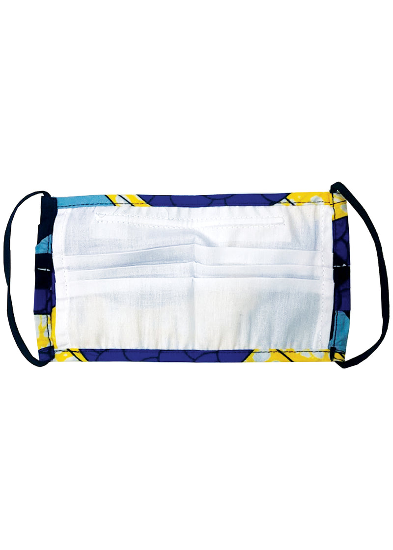 Uzo African Print 2 Layer Reusable Face Mask (Blue Bubbles on Yellow)