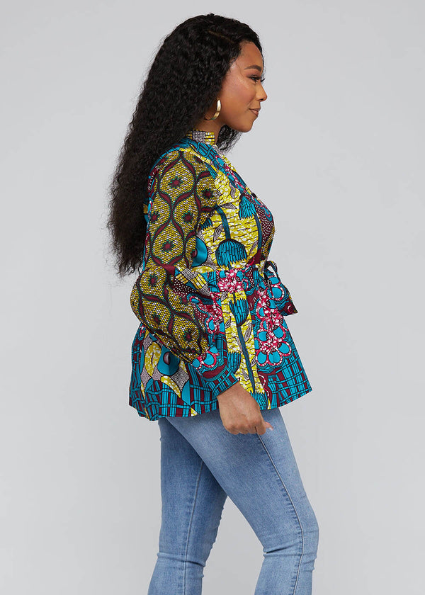 Chiamaka African Print Long Sleeve Peplum Blouse with Sash (Teal Pink Multipattern)