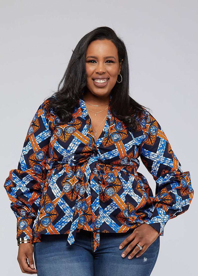 Chiamaka African Print Long Sleeve Peplum Blouse with Sash (Navy Orange Tiles)