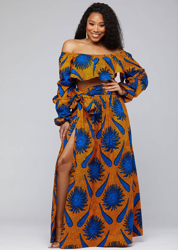 Durah African Print Crop Top (Gold Royal Blue Flowers) - Clearance