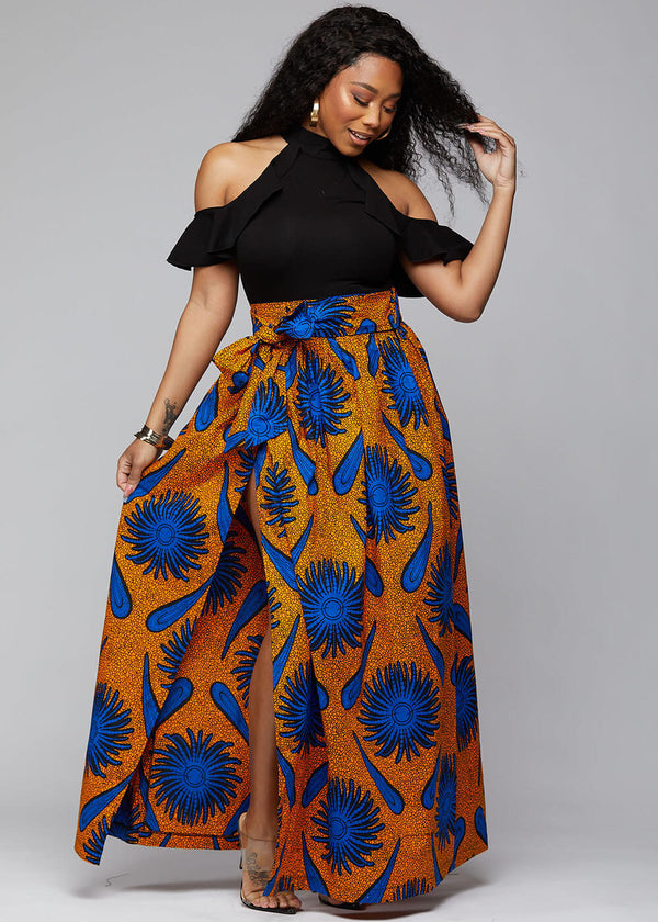Cyrah African Print Maxi Skirt with Sash (Gold Royal Blue Flowers)