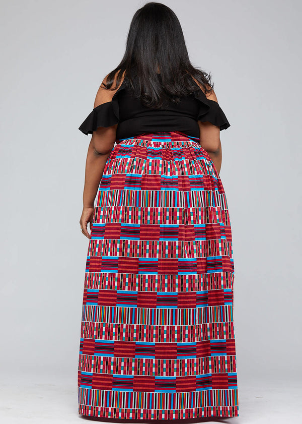 Cyrah African Print Maxi Skirt with Sash (Pink Blue Kente)