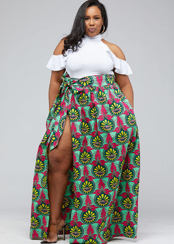 Cyrah African Print Maxi Skirt with Sash (Green Pink Sunrise)