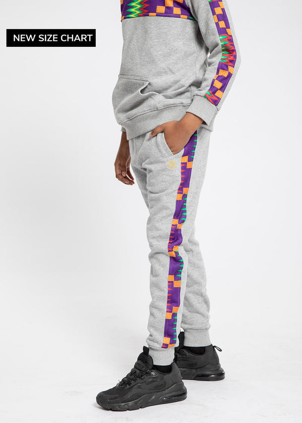 Iyara African Print Kid's Color Blocked Jogger (Heather Grey/Purple Green Kente)