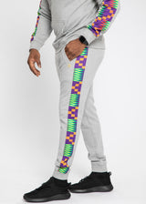 Oloyo African Print Men's Color Blocked Jogger (Heather Grey/Purple Green Kente)