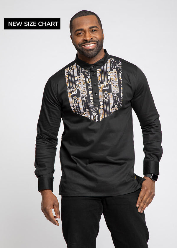 Meka Men's African Print Collared Henley (Black/ BlackTan Tribal)