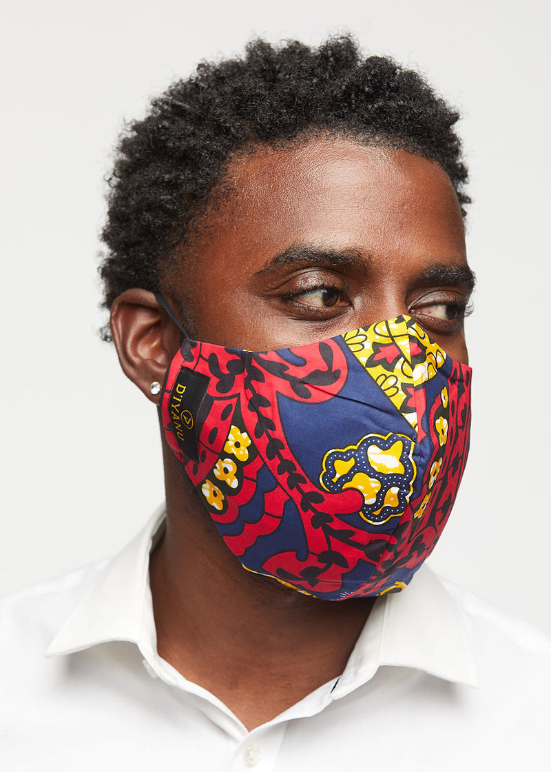 Dabo African Print 2 Layer Reusable Face Mask (Navy Gold Paisley)