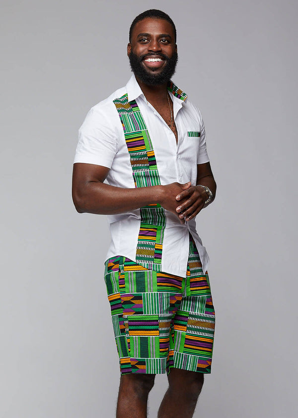 Debare Men's African Print Shorts (Green Purple Kente)