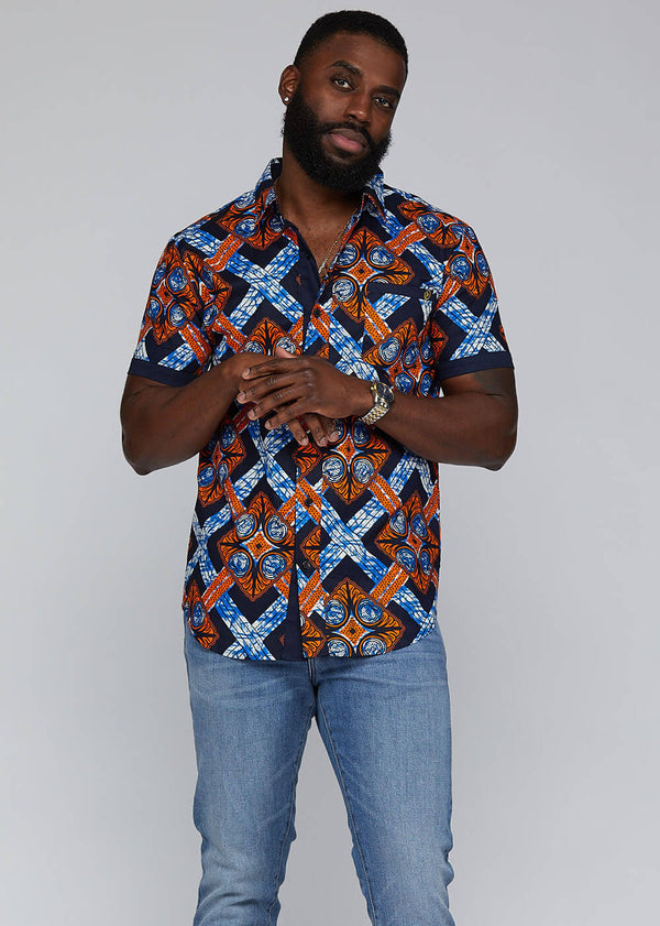 Deion African Print Short Sleeve Button Up (Navy Orange Tiles) - Clearance
