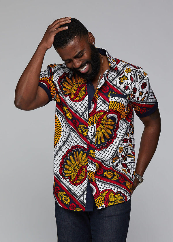 Deion African Print Short Sleeve Button Up (White Gold Multipattern)