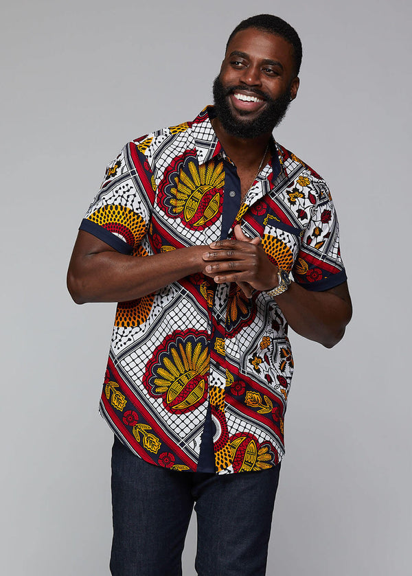 Deion African Print Short Sleeve Button Up (White Gold Multipattern) - Clearance