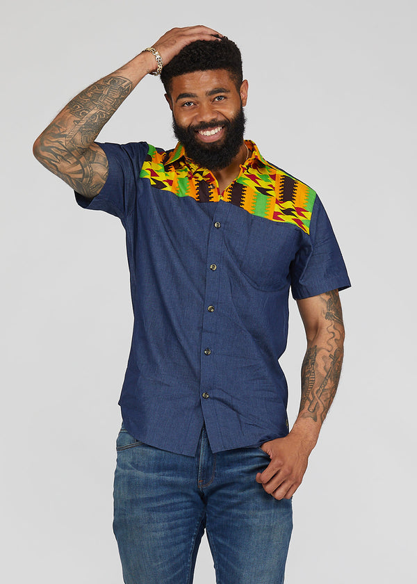 Akili African Print Color-Block Button-Up Shirt (Blue/Gold Maroon Kente)