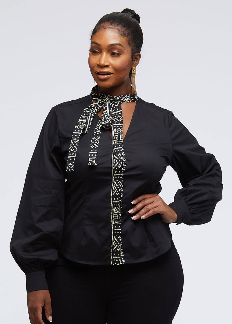 Deyir African Print Cut-Out Button-Up Top (Black/Black White Tribal)