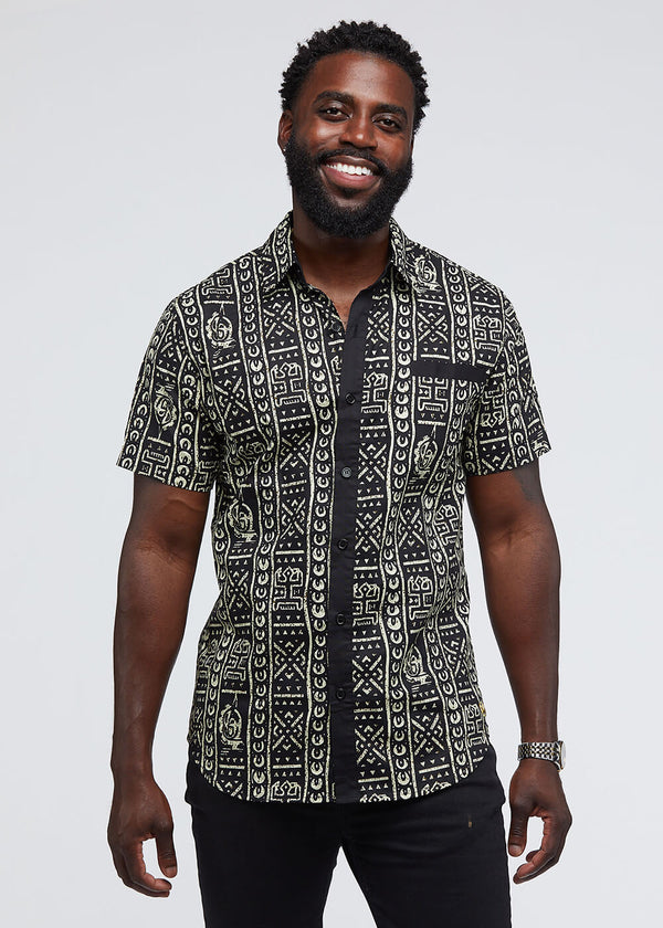 Dhiso African Print Button-Up Shirt (Black/Black White Tribal)