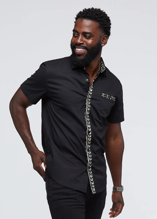 Ekon African Print Button-Up Shirt (Black/Black White Tribal)