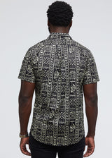 Dhiso African Print Button-Up Shirt (Black/Black White Tribal) - Clearance