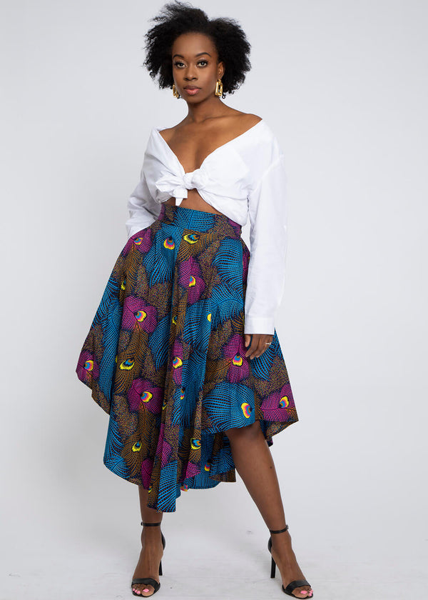 Didara African Print Gathered Triangle Maxi Skirt (Blue Pink Peacock)