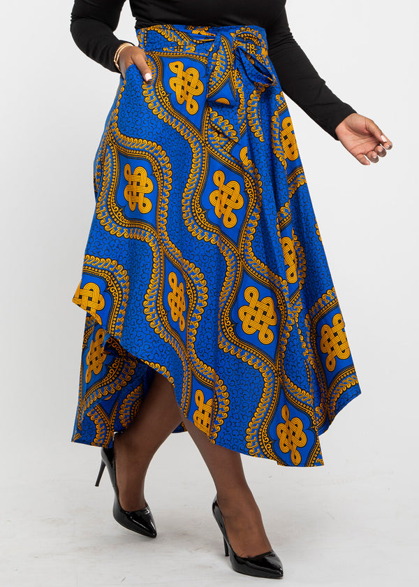 Didara African Print Gathered Triangle Maxi Skirt (Gold Blue Motif)