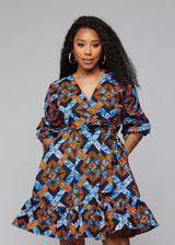 Aria African Print Midi Wrap Dress (Navy Orange Tiles)