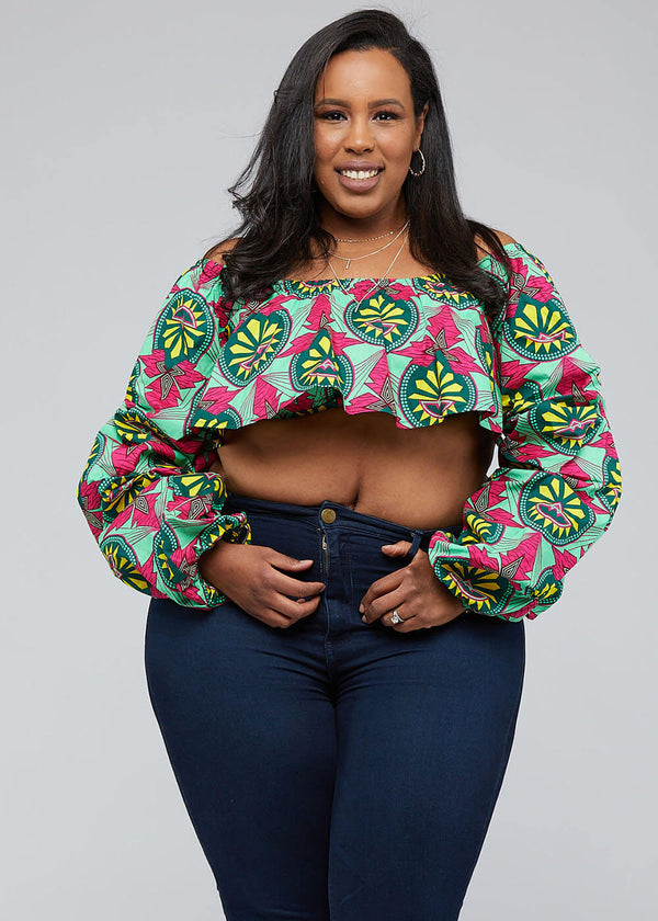 Durah African Print Crop Top (Green Pink Sunrise) - Clearance