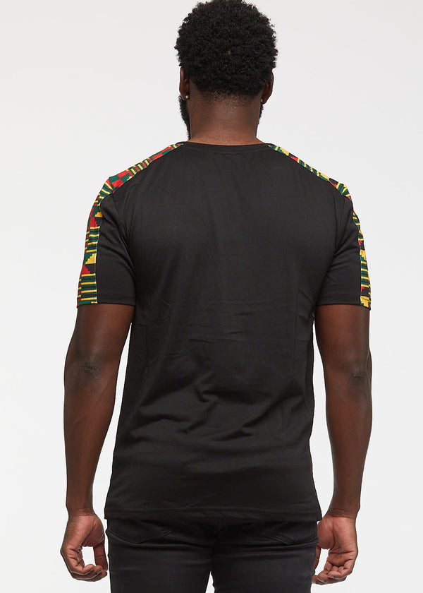 Ebanu Men's African Print Color Block T-shirt (Black/Black Green Kente)