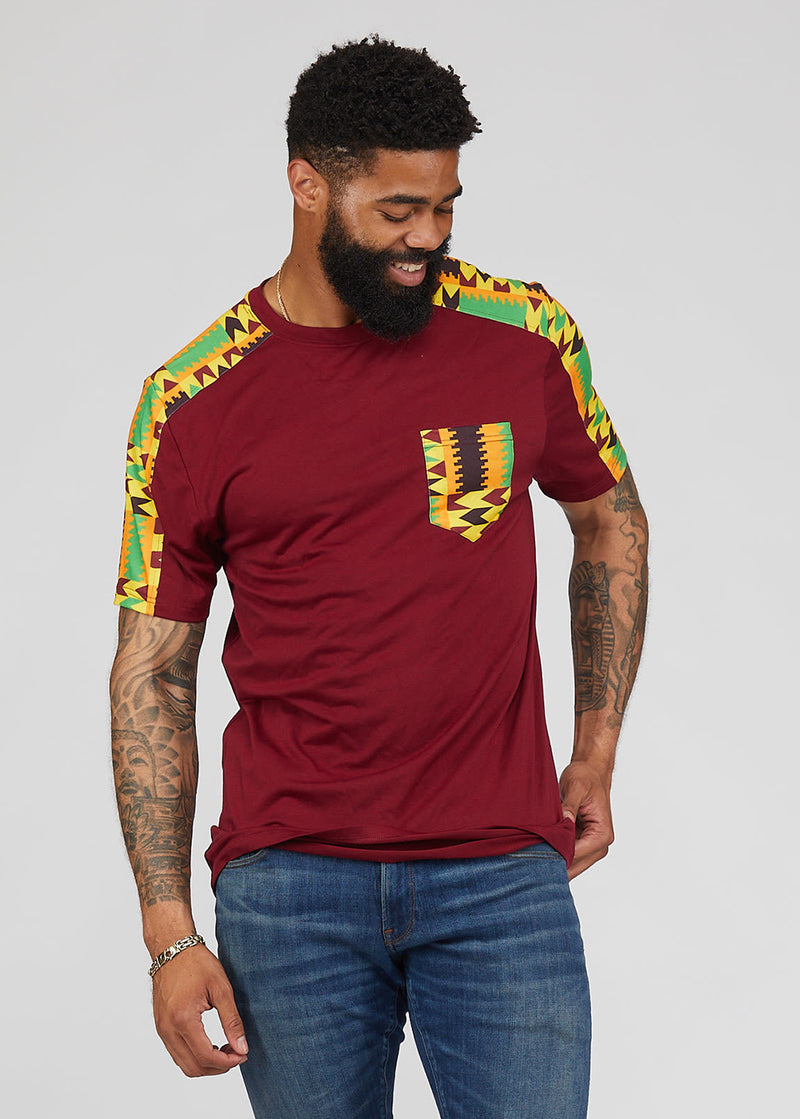 Ebanu Men's African Print Color Block T-shirt (Maroon/Gold Maroon Kente) - Clearance