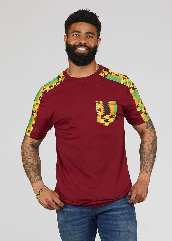 Ebanu Men's African Print Color Block T-shirt (Maroon/Gold Maroon Kente)