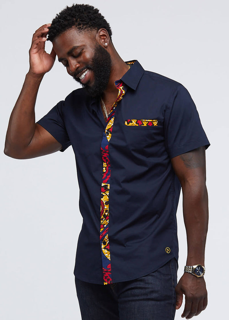 Ekon African Print Button-Up Shirt (Navy/Navy Gold Paisley)