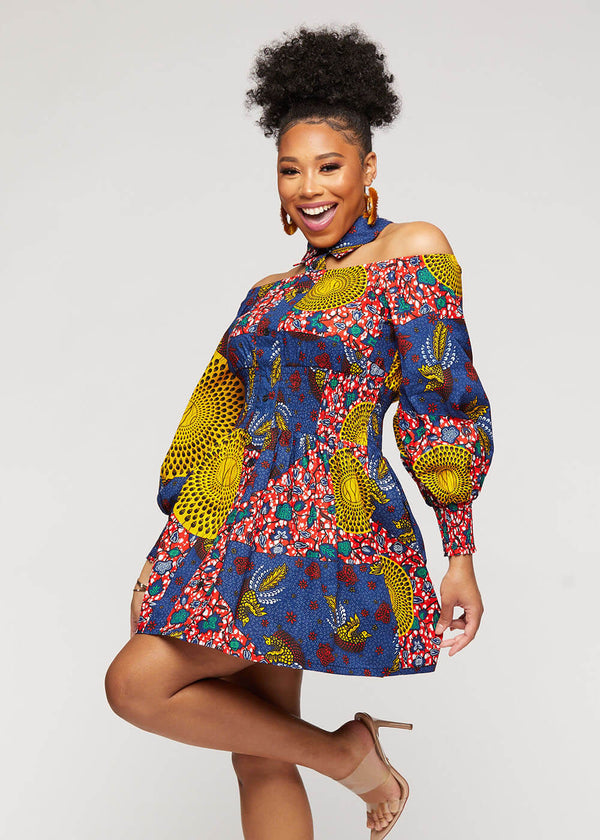 Fabia African Print Mini Dress with Puff Sleeves (Yellow Navy Multipattern)