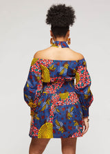 Fabia African Print Mini Dress with Puff Sleeves (Yellow Navy Multipattern)- Clearance