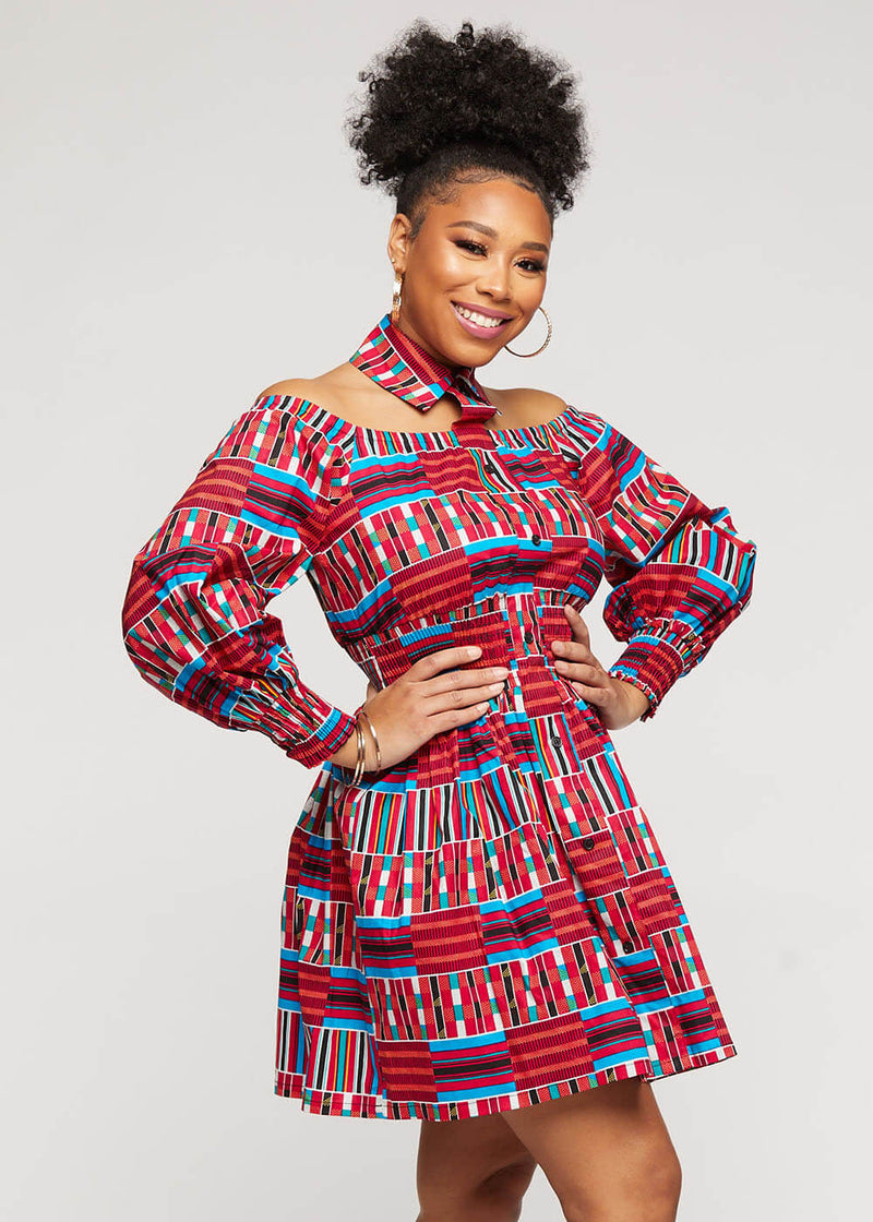 Fabia African Print Mini Dress with Puff Sleeves (Pink Blue Kente)