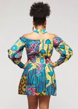 Fabia African Print Mini Dress with Puff Sleeves (Teal Pink Multipattern)