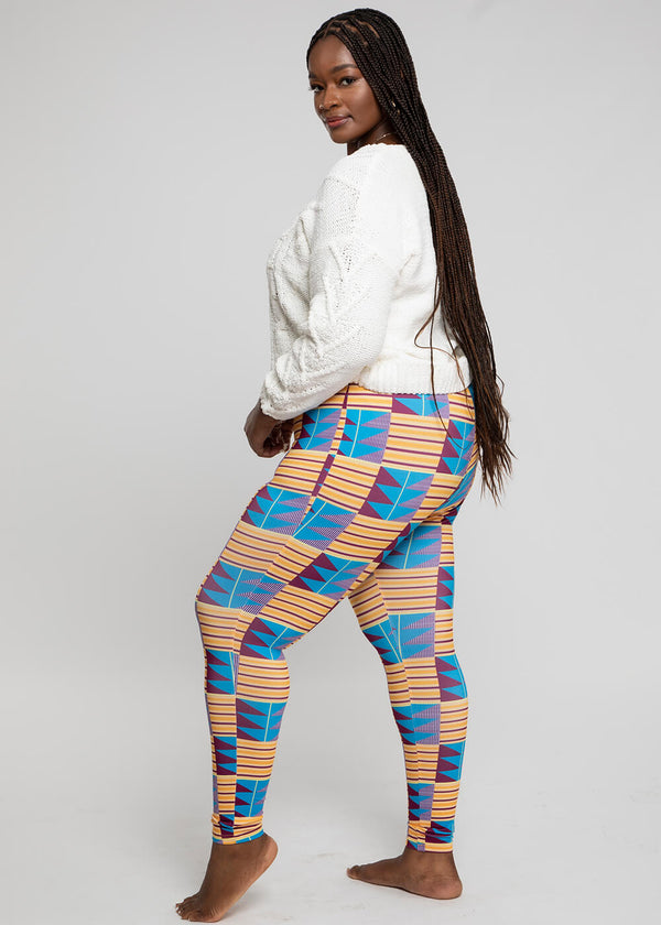 Faji African Print Leggings  (Tan Blue Kente)