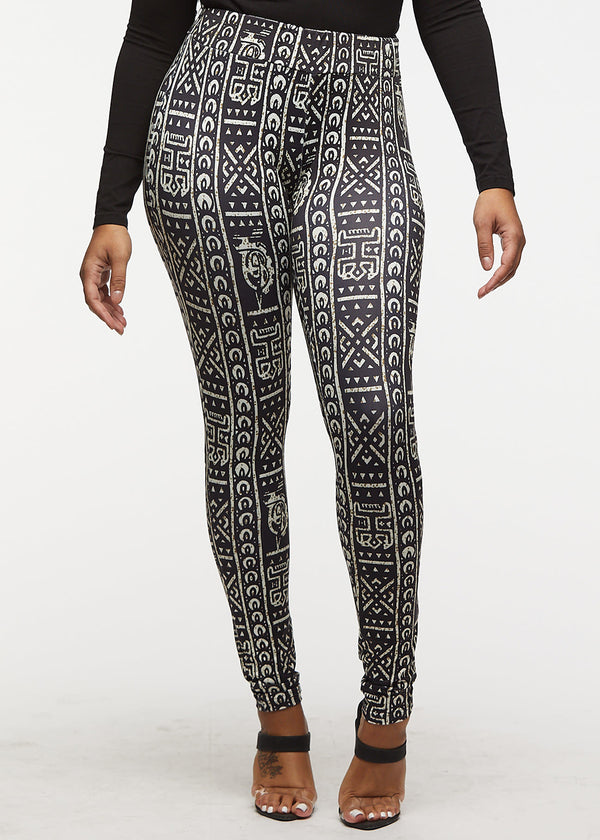 Faji African Print Leggings (Black White Tribal) - Clearance