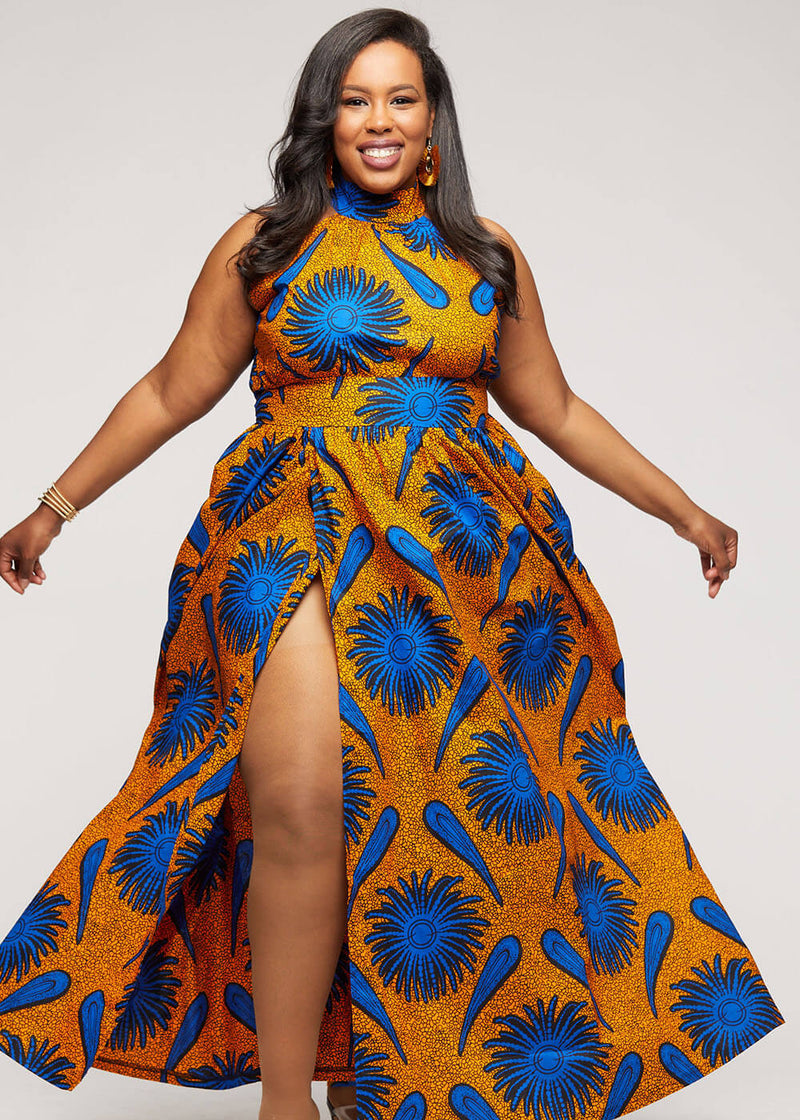 Firya African Print Halter Dress with Slit (Gold Royal Blue Flowers)