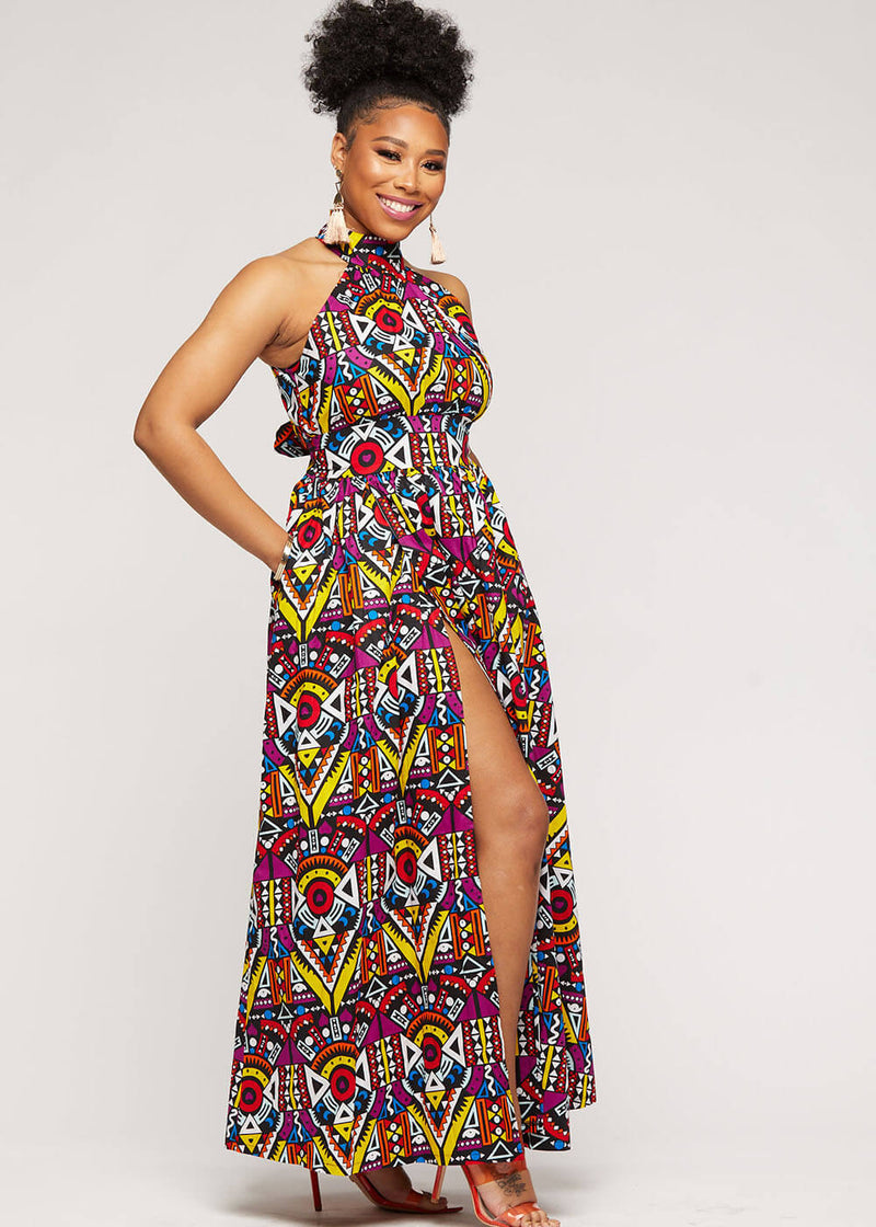 Firya African Print Halter Dress with Slit (Yellow Purple Tribal)