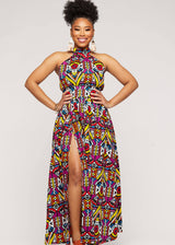 Firya African Print Halter Dress with Slit (Yellow Purple Tribal) - Clearance