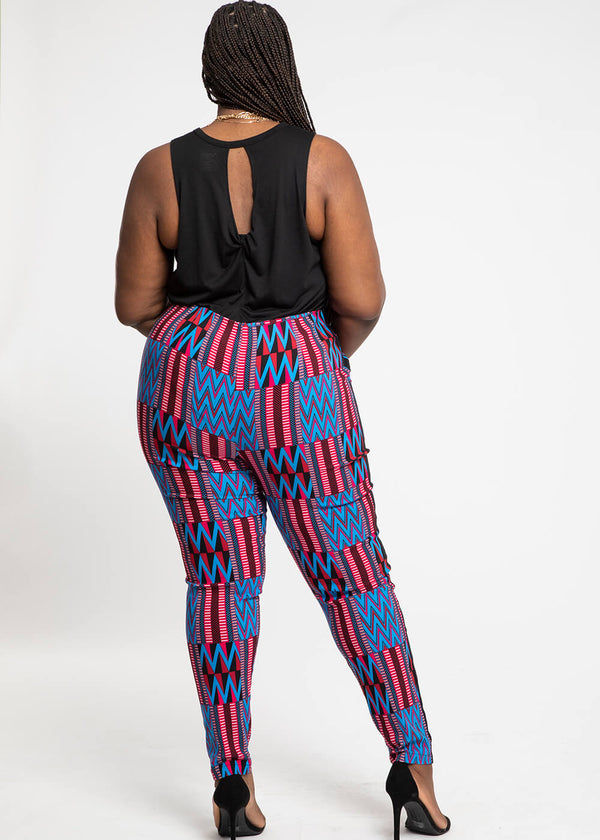 Folabi African Print Skinny Pant with Side Stripe (Magenta Blue Kente)- Clearance
