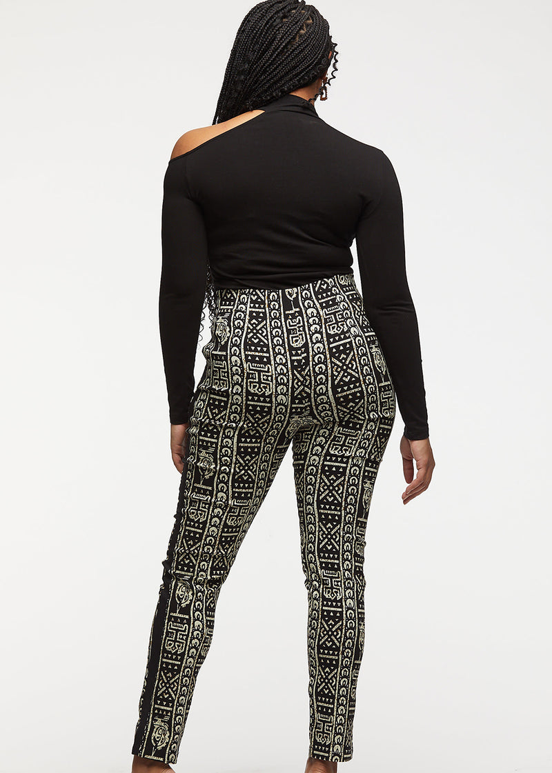 Folabi African Print Skinny Pant with Side Stripe (Black White Tribal with Black Contrast)