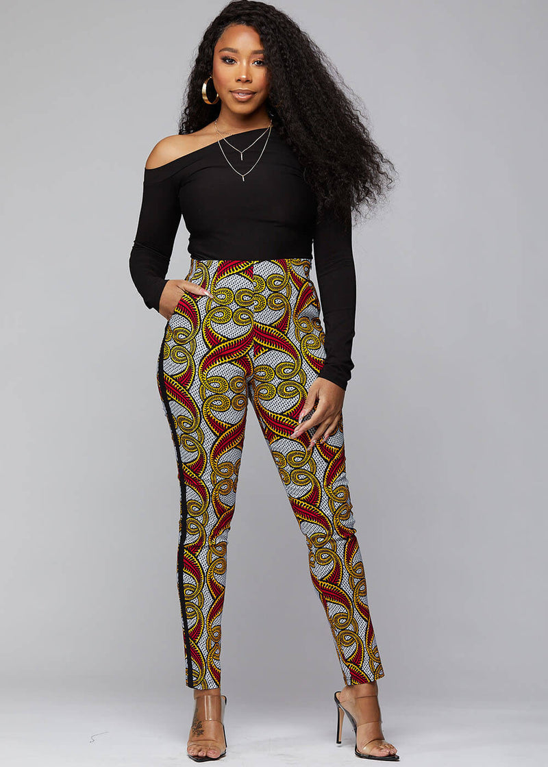 Folabi African Print Skinny Pant with Side Stripe ( Red Yellow Vines)
