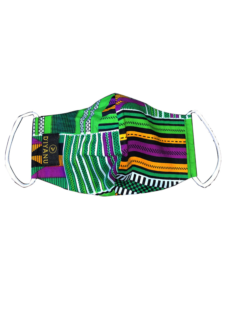 Shaka African Print 3 Layer Reusable Face Mask (GREEN PURPLE KENTE) - Clearance