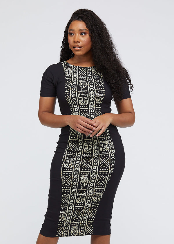 Gadise African Print Color-Blocked Dress (Black/Black White Tribal)