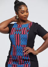 Gadise African Print Color-Blocked Dress (Black/Magenta Blue Kente) - Clearance
