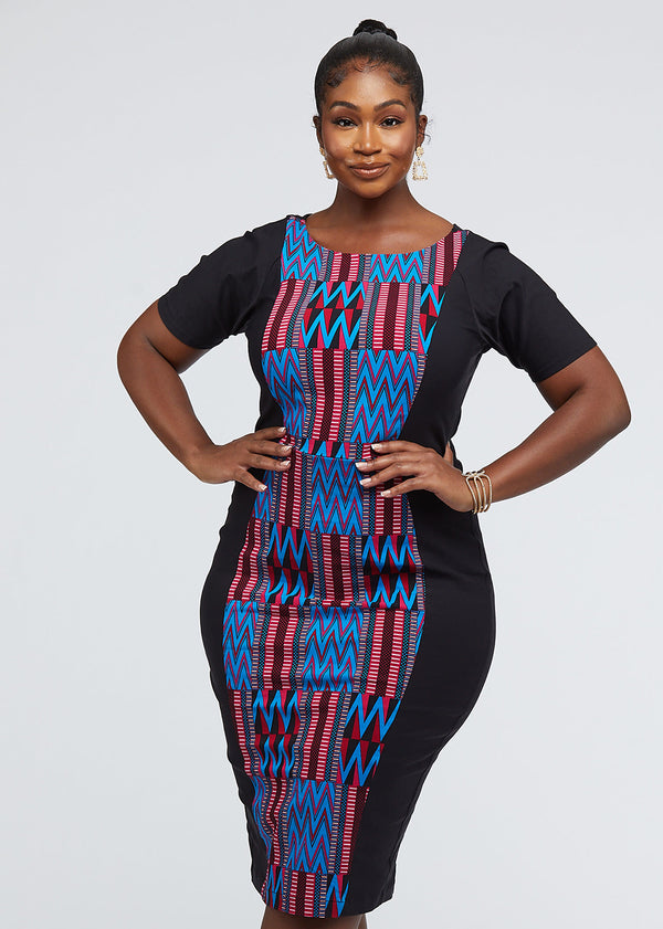 Gadise African Print Color-Blocked Dress (Black/Magenta Blue Kente)