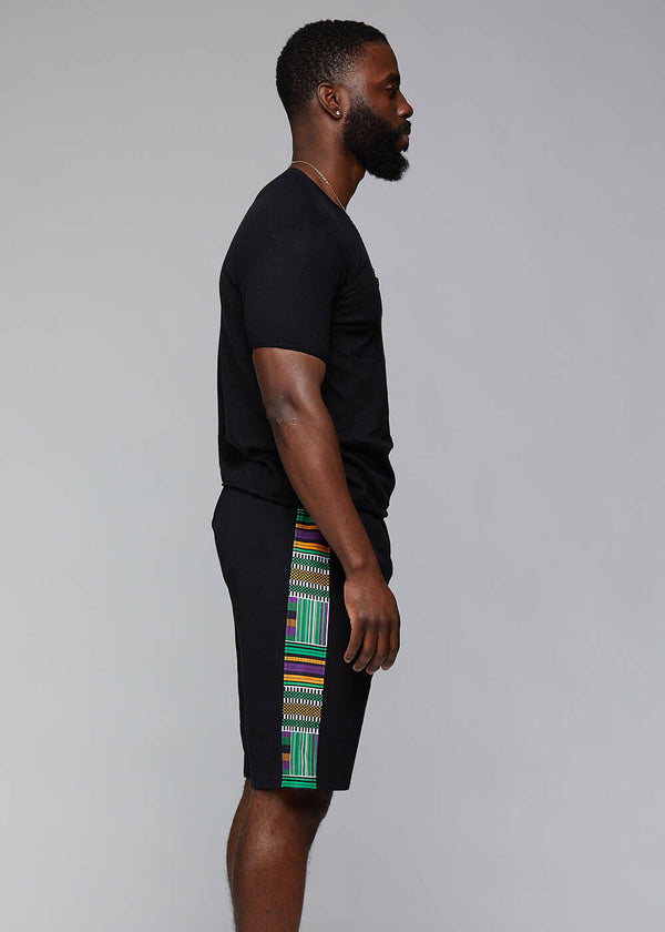 Gimiyu Men's African Print Drawstring Shorts (Black/Green Purple Kente)