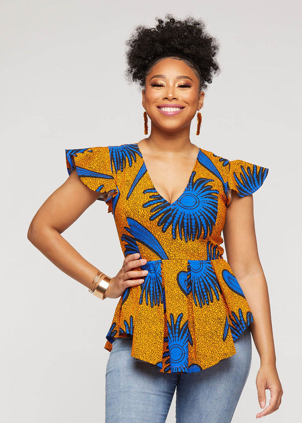 Zera African Print Stretch Peplum Top (Gold Royal Blue Flowers)