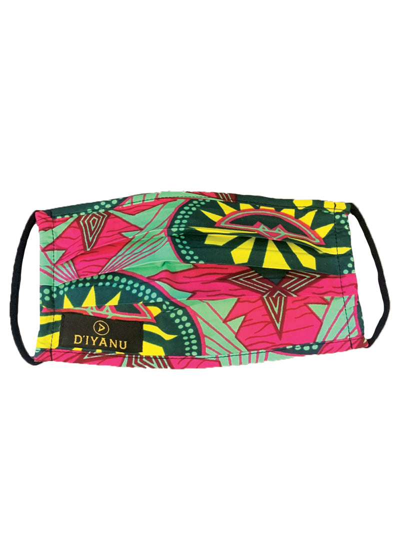 Uzo African Print 2 Layer Reusable Face Mask (Green Pink Sunrise)